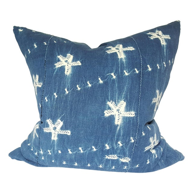 Vintage African Indigo Blue Mudcloth Pillow - Image 1 of 4