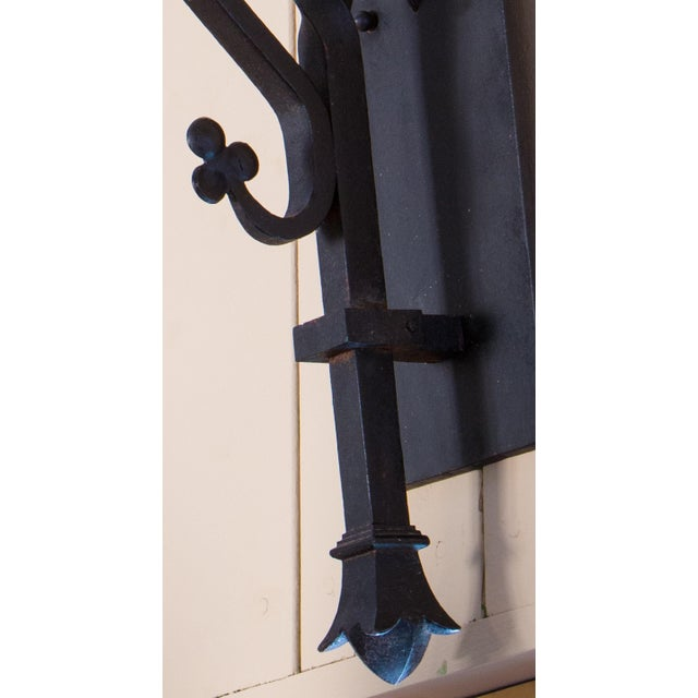Pair Monumental Iron Neo-Gothic French Sconces, circa 1910 For Sale - Image 4 of 7