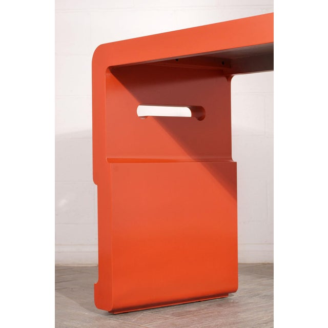 1970s Chinese Console Table With Orange Lacquered Finish For Sale - Image 5 of 7
