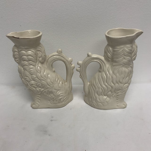 White Antique English Staffordshire Spaniel Pitchers - a Pair For Sale - Image 8 of 9