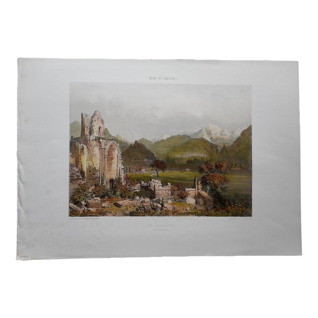 Antique Folio Size Lithograph-Nice & Savoy, France For Sale