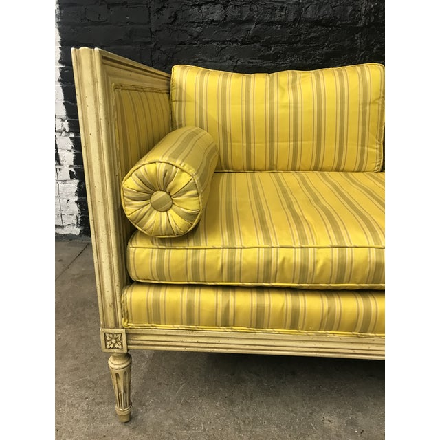 Fresh Bright Yellow with Light Green & Tan Striking Vintage Mid Century French Directoire l Settee Loveseat with original...