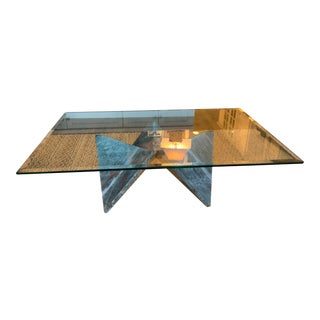 1960s Italian Mid Century Modern Travertine Marble and Glass Coffee Table For Sale