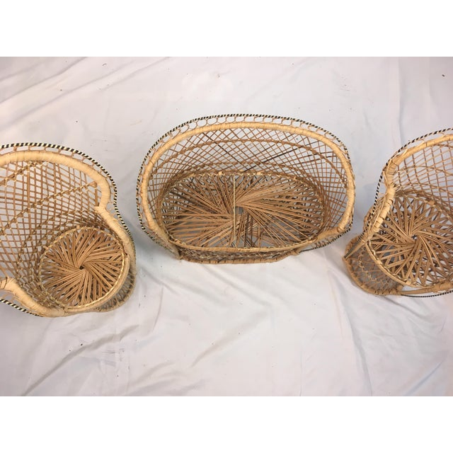 1970s Miniature Rattan Furniture - Set of 3 For Sale - Image 5 of 6