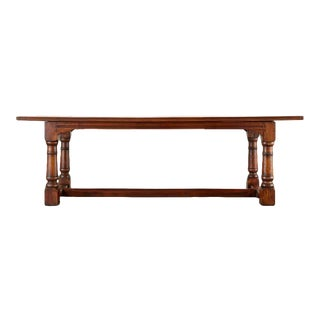 Country French Provincial Walnut Farmhouse Refectory Dining Table For Sale