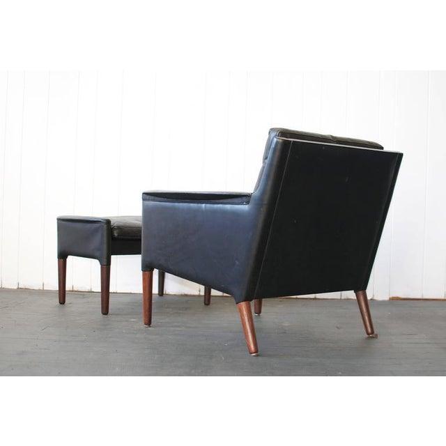 Kurt Østervig Leather Lounge Chair and Ottoman For Sale - Image 5 of 7