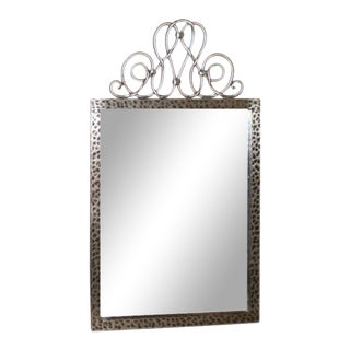 1940s Vintage Raymond Subes Style French Art Deco Steel Mirror For Sale