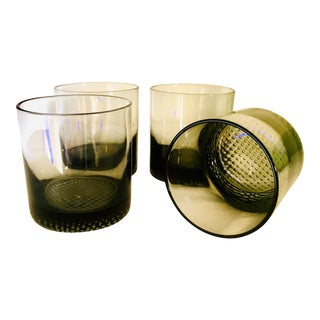 Optical Bubble Bottom Smoked Lowball Glasses - Set of 4 For Sale