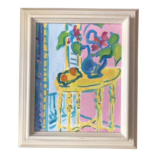 The Yellow Table Impressionist Painting 1990s For Sale
