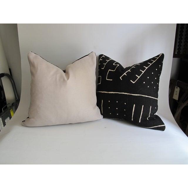 Black Kuba Cloth Pillows - A Pair - Image 3 of 8
