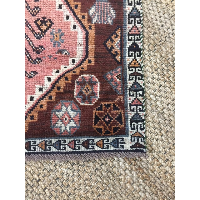 1970s Vintage Shiraz Brown and Rose Pink Rug - 3′8″ × 7′6″ For Sale - Image 6 of 9