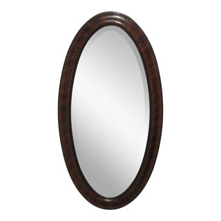 Vintage Faux Rosewood Frame Oval Beveled Mirror For Sale