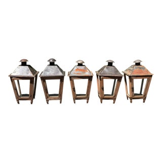 Vintage Pottery Barn Rustic Weathered Candle Lanterns - Set of 5 For Sale