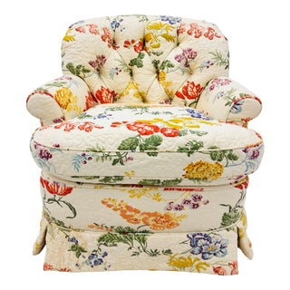 Vintage Quilted Chintz Arm Chair For Sale