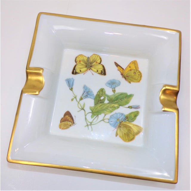 Shabby Chic Vintage Hermes Style Butterfly Ashtray With Suede Bottom For Sale - Image 3 of 13
