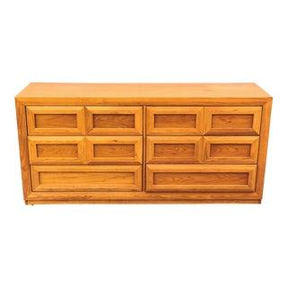 1970s Mid Century Modern Oak Thomasville 6 Drawer Dresser For Sale