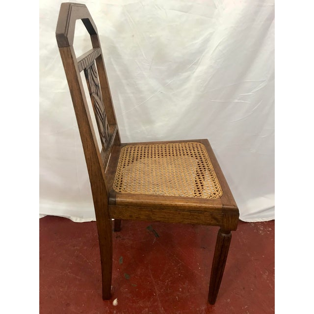French Oak and Cane Art Deco Dining Chairs For Sale - Image 6 of 9