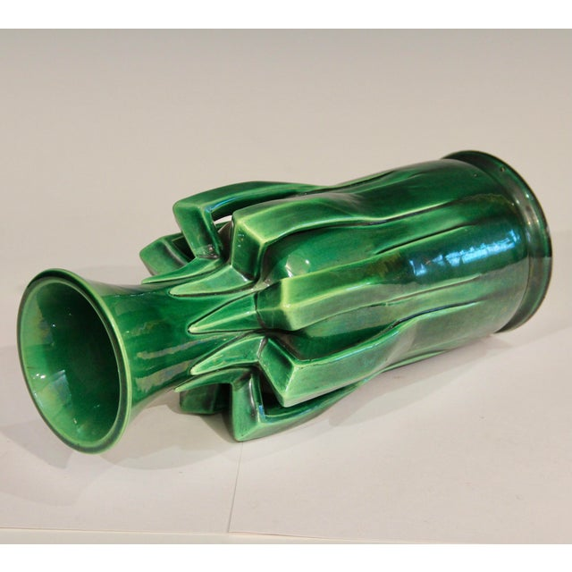 1910s Awaji Pottery Organic Arts & Crafts Petal Handle Green Monochrome Vase For Sale In New York - Image 6 of 12
