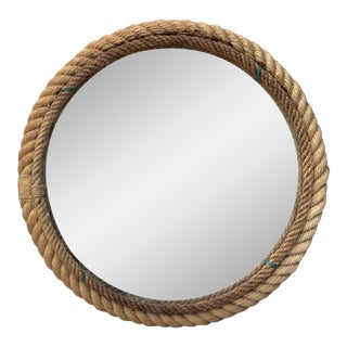 Round Audoux Minet Rope Mirror, Circa 1960 For Sale
