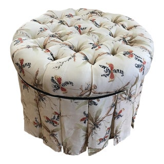 Round Custom Button Tufted Ottoman
