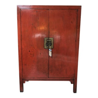 Extra Large Vintage Chinese Red Lacquer Cabinet For Sale