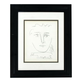 1950s Mid Century Modern Framed Signed Pablo Picasso Pour Robie Etching For Sale