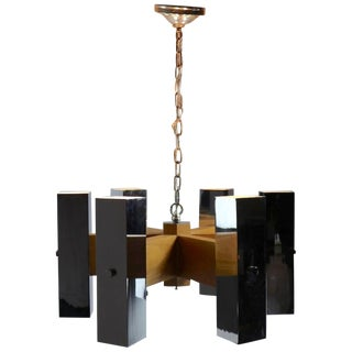 Architectural Chrome and Oak Spoke Form Chandelier For Sale