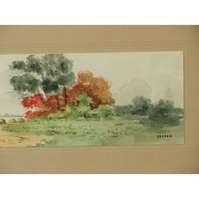 Antique Landscape Watercolor by Hasson - Image 5 of 9