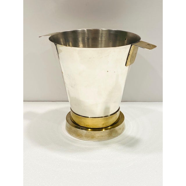 1970's Art Deco Style Wine Cooler and Ice Bucket With Brass Accents, Italy For Sale - Image 4 of 13