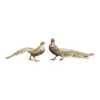 Silvered Pheasant Statues From France - a Pair For Sale