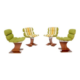 Set of 4 Sculptural Bent Plywood Chairs For Sale