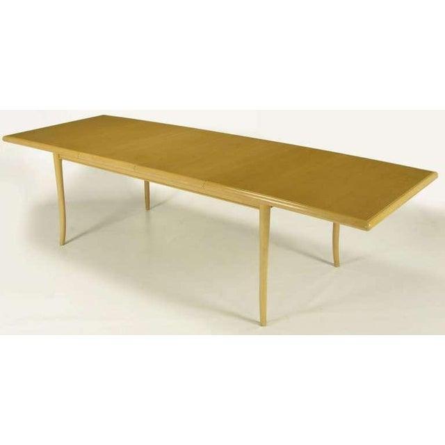 T.H.Robsjohn-Gibbings Bleached & Glazed Mahogany Saber Leg Dining Table - Image 4 of 8
