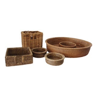 Vintage Rattan Serving Set - Set of 5