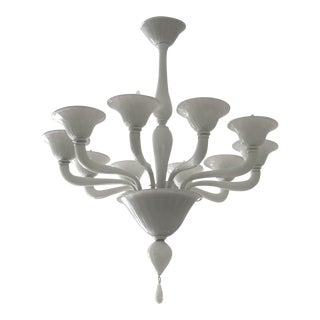 Late 20th Century La Murrina Custom Ouverture-Matte Nickel & White Glass Chandelier For Sale