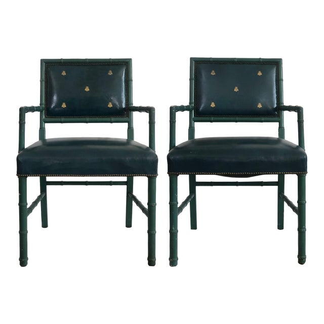 Mid-Century Blue Arm Chairs - a Pair For Sale