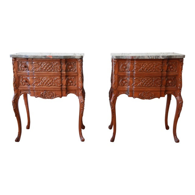 Carved Louis XV Style Marble Top Nightstands - A Pair For Sale