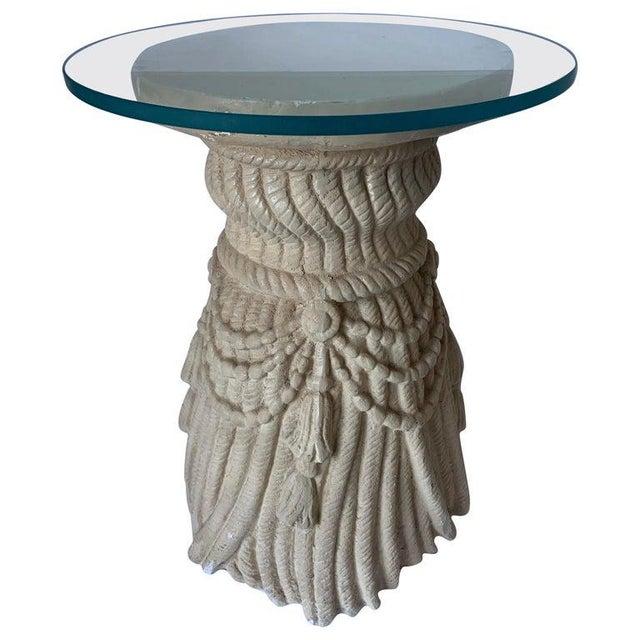 Glass 1970s Hollywood Regency Plaster Tassel Motif Glass Top Side Table For Sale - Image 7 of 7