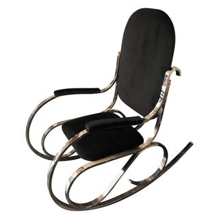 1970s Italian Vintage Chrome Base and Black Velvet Rocking Chair For Sale