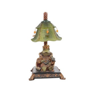 MCM Whimsical Frog Prince Table Lamp Beaded Vine Jeweled Lily Shade For Sale