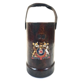 English Leather Cannon Ball Carrier For Sale