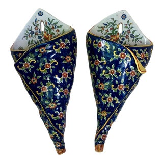 C. 1890 French Faience Wall Pocket Desvres Fourmaintraux- a Pair For Sale