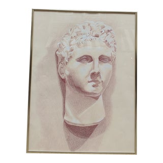 1960s Vintage Pastel Drawing of Classical Bust, Framed For Sale