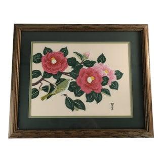 Handmade Needlepoint Magnolia Bird Art For Sale