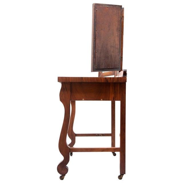 Burnt Umber 1903 Marvel Bevelled Three Mirror Oak Vanity For Sale - Image 8 of 13