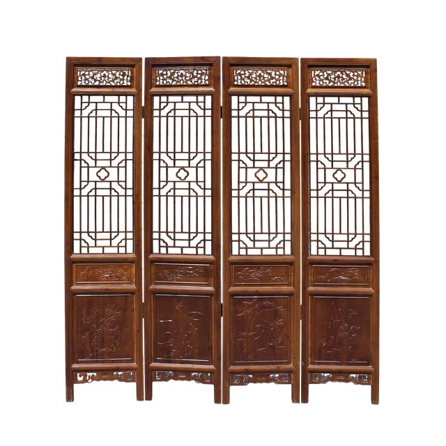 Chinese Brown Geometric Pattern Theme Wood Panel Floor Screen For Sale
