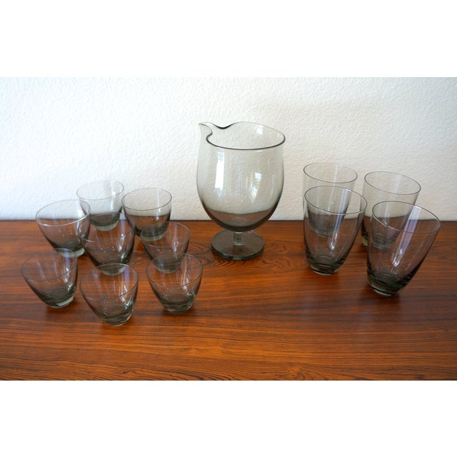 Vintage Holmegaard Smoked Glass Drink Set - Image 4 of 5