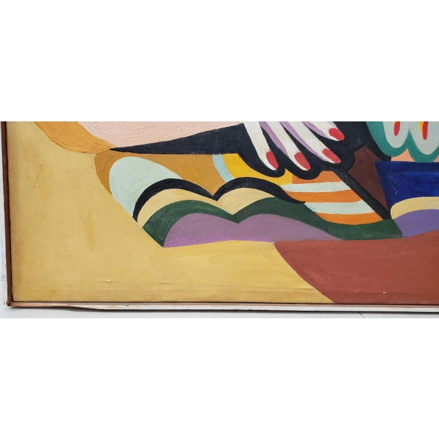 Large Scale Vintage Mid Modern Oil Painting by Larsen C.1940s For Sale - Image 4 of 13