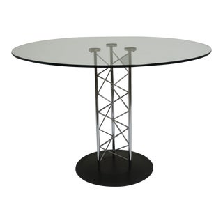 "Contemporary 40"" Round Glass Table With Geometric Chrome Base For Sale"