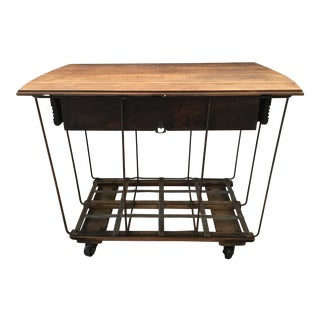 20th Century Industrial Style Rolling Bar Cart For Sale