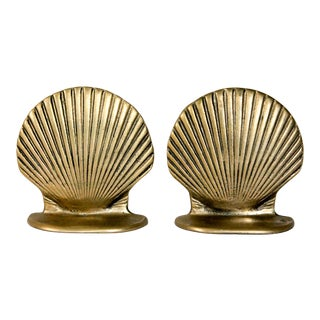 Brass Clam Shell Bookends For Sale